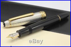 Montblanc 17313 Solitaire Sterling Silver Doue Fountain Pen 18K M Nib