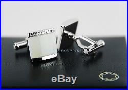 Montblanc Classic Sterling Silver Cufflinks White Onyx New Box Germany 308380
