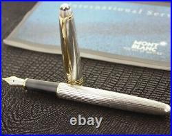 Montblanc Meisterstruck Solitaire Pinstripe Sterling Silver FoutainPen 18k M Nib