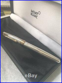 Montblanc Meisterstuck 144S Solitaire Sterling Silver Pinstripe Fountain Pen. M