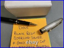 Montblanc Meisterstuck Doue Sterling Silver 925 Black Ballpoint Pen Working Ink
