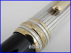 Montblanc Meisterstuck Solitaire Doue Sterling Silver Pinstripe Fountain Pen F