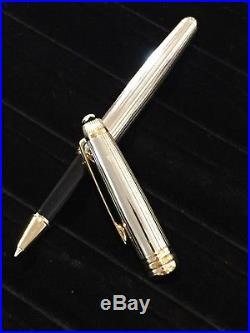 Montblanc Meisterstuck Solitaire Pinstripe Sterling Silver Roller Ball Pen
