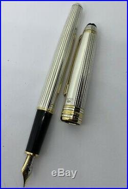 Montblanc Sterling Silver Fountain Pen Meisterstuck 18k nib