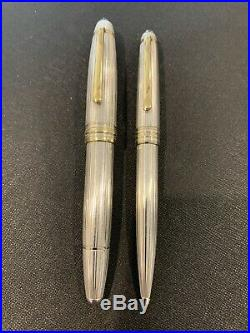 Montblanc Sterling Silver Pinstripe Fountain Pen #146,18k Nib/ball Point Pen Set