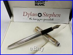 Montblanc meisterstuck 144 solitaire sterling silver fountain pen 18K medium nib