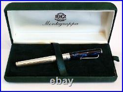 Montegrappa 300 Series Fountain Pen In Sterling Silver & Laque 18k Gold M Nib
