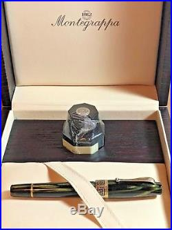 Montegrappa Extra 1930 Sterling Silver With Bamboo Black Celluloid Fountain Pen