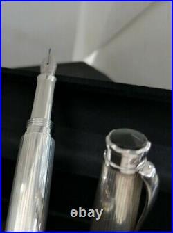 Montegrappa Memoria Pinstripe 925 Sterling Silver Fountain Pen Beautiful