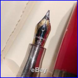 Montegrappa Miya 1140MI Fountain Pen Med. Nib Sterling Silver. 925 Trim