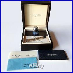 Montegrappa Privilege Gioiello Peacock Sterling Silver Fountain Pen Limited Mint