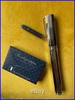 Montegrappa Reminiscence. 925 Sterling Silver. 1980's. Italy. 18k Gold Nib