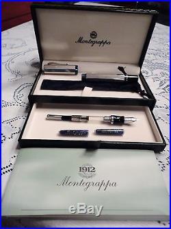 Montegrappa Sterling Silver Privilege Large Fountain Pen 18K Medium Nib