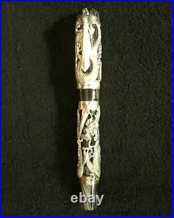 Montegrappa THE DRAGON Fountain Pen Sterling Silver, Mint in Original Box
