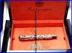 Montegrappa dragon fountain pen limited edition solid sterling silver gold nib