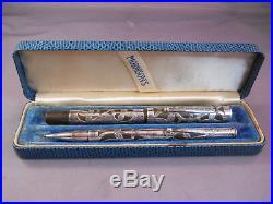 Morrison's Sterling Silver Fountain Pen Set-flexible medium nib