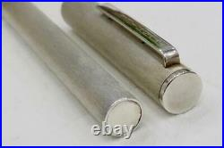 NEAR MINT ALFRED DUNHILL BRUSHED STERLING SILVER FOUNTAIN PEN CASED C1970's