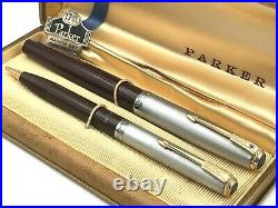 NOS! 1st YEAR 1941 PARKER 51 STERLING SILVER CORDOVAN BROWN DJ FOUNTAIN PEN SET