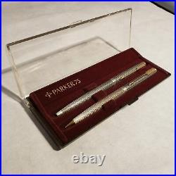 NOS Parker 75 Sterling Silver Cisele Ballpoint Pen and Mechanical Pencil Set