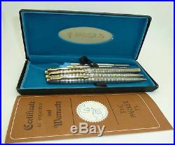 NOS Parker 75 Sterlng Silver Cisele Fountain Pen, Ballpoint, Pencil, Flet Ends