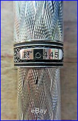 New Aurora 80th Anniv Sterling Silver LE xxxx/1919 Fountain Pen FINE 18k Nib