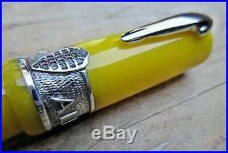 New Delta Alfa Romeo Yellow Sterling Silver LE Fountain Pen BROAD 18k Nib