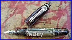 New Marlen XXI Rouge Translucent Sterling Silver Fountain Pen MEDIUM 18K Nib