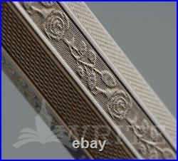 New! Rare! Fountain Pen Montegrappa Two Roses York Sterling Silver Nib F C