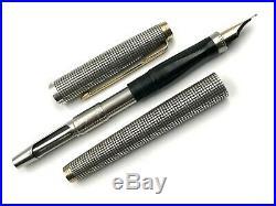Nice Vintage Parker 75 Sterling Silver Cisele Flat Top Fountain Pen 925 14k USA