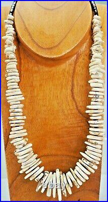 Nv White Buffalo'turquoise' Slices & Pen Shell Heishi Necklace Navajo/dine