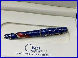 OMAS MIKU Fountain Pen Blue Enamel Sterling Silver 18K Med Nib Year 2005 NEW