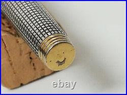PARKER 75 STERLING SILVER CISELE FOUNTAIN PEN 14K GOLD NIB size F FLAT TASSIES