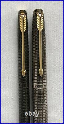 PARKER Cisele Sterling Silver Fountain Pen Mechanical Pencil Set 14k Gold Nib