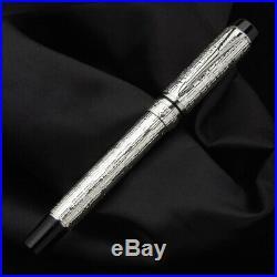 PARKER Duofold PRESIDENTIAL Esparto SOLID STERLING SILVER Ltd. Fountain Pen MINT