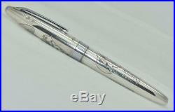 PILOT NAMIKI Custom Geisha Fountain Pen Sterling Silver Barrel 18K Gold Fine Nib