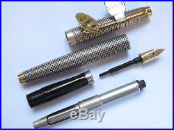 Parker 75 Ciselé (Crosshatch Grid) Sterling Silver Fountain Pen (Mint with box)