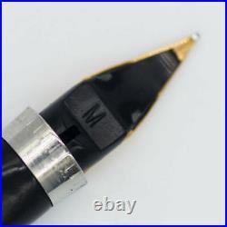 Parker 75 Cisele FLAT TOP 0 Sterling Silver Fountain Pen M 14K Nib #902
