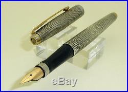 Parker 75 Sterling Silver Cisele Fountain Pen, F 14k Gold NIb