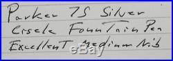 Parker 75 Sterling Silver Cisele Fountain Pen In Box c. 1972 14kt M Nib USA