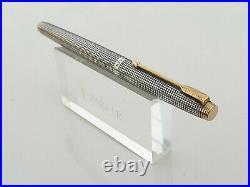 Parker 75 Sterling Silver Cisele Fp 14k Gold Broad Nib Flat Tassies Converter