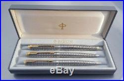 Parker 75 Sterling Silver Cisele Triple Set X Fine Nib Converter Case Serviced
