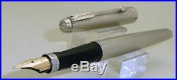 Parker 75 Sterling Silver Plated Barleycorn Fountain Pen, Fine 14k Gold M Nib