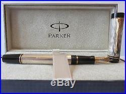 Parker Duofold Centennial Fountain Pen 18Kt Gold B Pt Sterling Silver New In Box