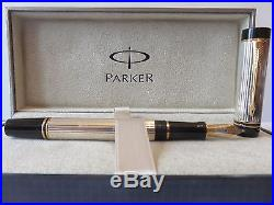Parker Duofold Fountain Pen Sterling Silver International Fine Pt New In Box
