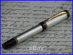 Parker Duofold International Fountain Pen Sterling Silver 925 Nib F Full Set