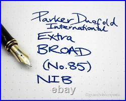 Parker Duofold International Sterling Silver Godron Fountain Pen 18k Extra Broad
