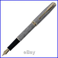 Parker Sonnet Sterling Silver Cisele GT Fine Point Fountain Pen with Notebook