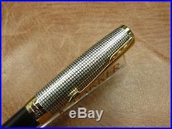 Parker Sonnet Sterling Silver Cisele/black Fountain Pen 18k F Nib New In Box