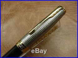 Parker Sonnet Sterling Silver Cisele/black Fountain Pen 18k Fine Nib New In Box