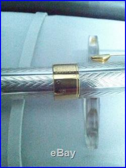 Parker Sterling Silver Sonnet Fougere Fountain Pen Med Pt 18k Gold New In Box